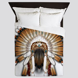 Native War Bonnet 01 Queen Duvet
